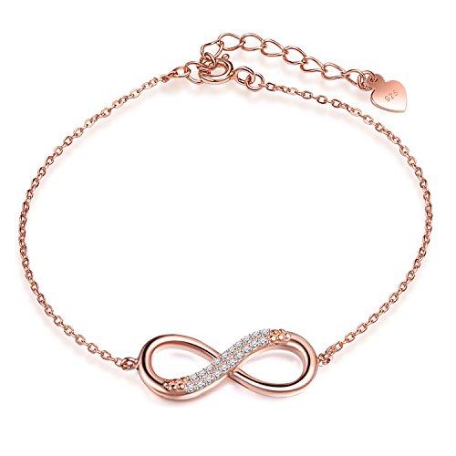 Yumilok Roségold 925 Sterling Silber Zirkonia Unendlichkeit Infinity Zeichen Charm Armband Verstellbare Armkette Armkettchen Mädchen