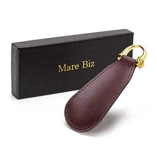 Mare Biz(マーレビズ) 靴べら 本革 携帯用 キーホルダー レザー ミニ シューホーン 靴ベラ 便利 携帯 リング付き ビジネス ブランド おしゃれ (ブラウン)