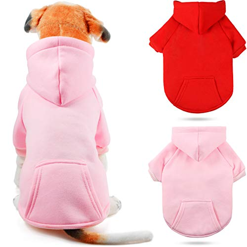 Geyoga 2 Pieces Dog Hoodie Basic Pet Sweatshirts Dog Sweater Hooded Clothes with Pocket Dog Hoodie Coat for Dogs Cats in Cold Weather (Red, Pink,Medium)