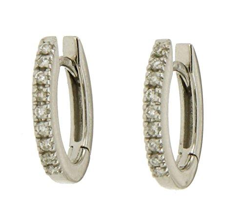 Orecchini a veretta in oro bianco 750 18kt con diamanti - N288