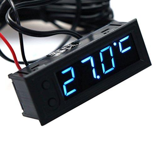 Xurgm 3 in 1 Auto Akku Monitor Voltmeter, Thermometer, Zeit, DC 12V Batterie Digital Voltmeter Spannung/Uhr/Temperatur Display (Blau)