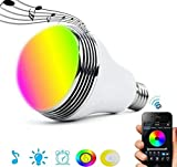 Ewtto - Bombilla inteligente Bluetooth RGB de color regulable, control remoto LED bombilla con altavoz reproductor de música para casa y fiesta nocturna, E27 E26