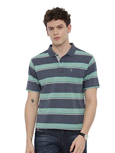 SWISS CLUB Mens Striped Slim Fit Collared Neck T-Shirt (STAG - 174 B AF P-M) Blue-Grey