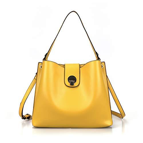 AFKOMST Bucket Bag and Purses for Women Hobo Bags,Designer Shoulder Handbags,Medium,Mustard