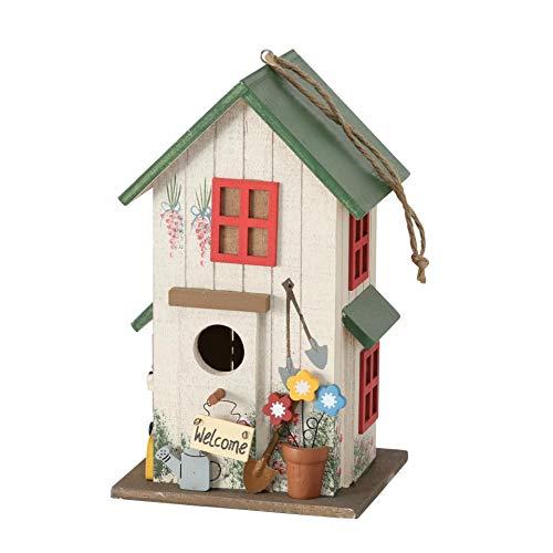 CasaJame Holz Vogelhaus Bunt und Grün für Garten, Nistkasten, Haus für Vögel, Vogelhäuschen, Balkon Deko, 15 x 13 x 26cm