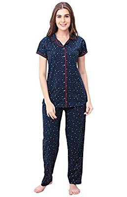 ZEYO Women's Night Suit & Night Shirt | Navy Blue Front Open Night Dress with Heart & Dot Print | Pure Cotton Night wear | Top and Pyjama Set with Half Sleeve