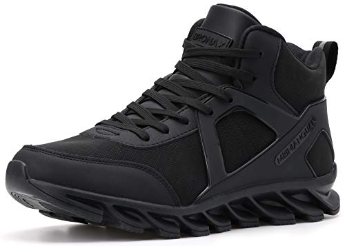 BRONAX Tennis Shoes for Men Casual High Top Lace Up Leather Basketball Walking Sports Athletic Training Jogging Fitness Travel Workout Hip Hop Gym Sneakers All Black Size 13