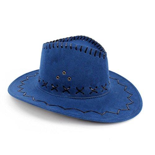 Hmilydyk,cappello unisex a tesa larga per travestimento da cowboy e cowgirl, colore: blu, adatto per feste in stile Western