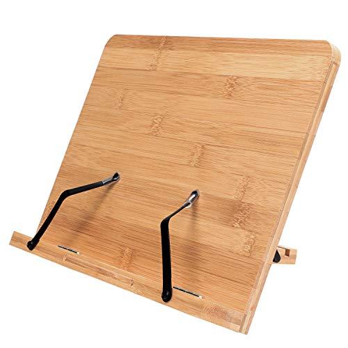 Kurtzy Leggio da Tavolo per Libri Legno Regolabile - Leggio Bambu da 33,5x24 cm - Supporto Libri Pieghevole- Leggio per Libri Grandi e Piccoli- Leggio Musicale da Tavolo, Cucina, Supporto iPad, Tablet