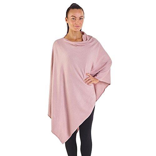 City Comfort® Soft Feel Ponchos für Frauen Ganzjährig Asymmetrischer Pullover Cape Blanket Schal Wickel Poncho - Cashmere Feel (beige rosa)