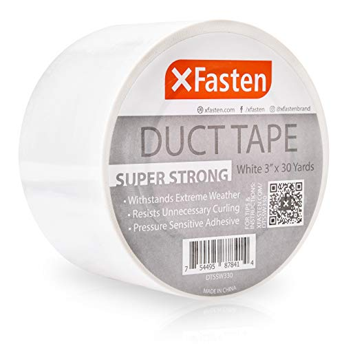 """XFasten Super Strong Duct Tape, White, 3"""" x 30 Yards, Waterproof Duct Tape for Outdoor, Indoor, School and Industrial Use"""