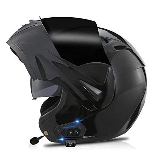 Casco Moto Modular Bluetooth, Casco de Motocicleta Integrado con Doble Visera para Motocicleta Scooter, ECE Homologado Casco de Moto para Adultos Hombre Mujer (Color : K, Size : XXL=(61-62CM))