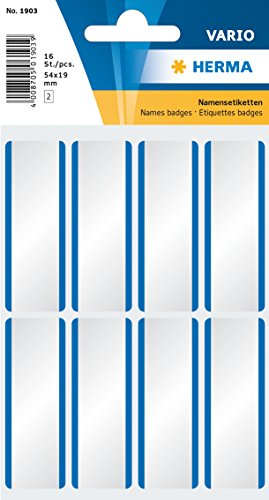 HERMA 1903 Namensetiketten, ablösbar (54 x 19 mm, 16 Blatt, Acetatseide) selbstklebend, rückstandsfrei abziehbare Namensaufkleber zur Handbeschriftung, 200 Klebeetiketten, weiß / blau