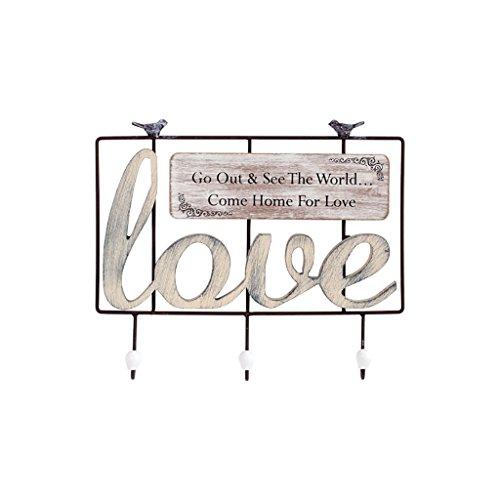 LXLA- Cintre Rack Hanger Cintre mural en métal sur le mur (disponible 3 et 4 crochets, 42 * 6 * 30cm) (Couleur : Love)