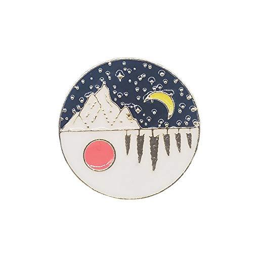 broche Oro personalizado al aire libre montaña noche estrellada esmalte Pin salvaje...