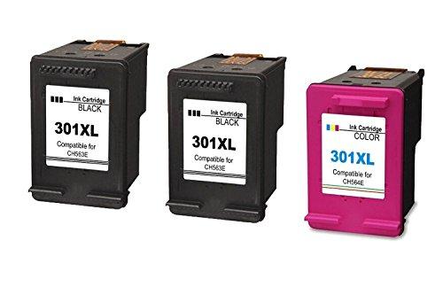 Ink Seller 3Pack Compatible HP 301XL 301X L Cartuchos de Tinta (2negro + 1Tri-Colore) para HP y