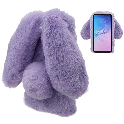 for Samsung Galaxy A20 Case,for Samsung Galaxy A20 Rabbit Fur Case Bunny Ear Phone Case for Girls Fuzzy Cute Warm Winter Soft Furry Fluffy Ball Fur Hair Plush Protective TPU Bumper Cover-Purple