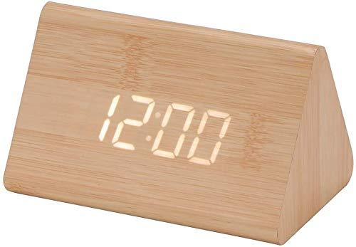 ZMDHL Digitaler Wecker Elektronische LED-Dreieck-Anzeigezeittemperatur aus Holz ,Digitalwecker Tischuhr mit Sprachsteuerung/Datum/Temperatur(Bambusholz +weißes Licht)