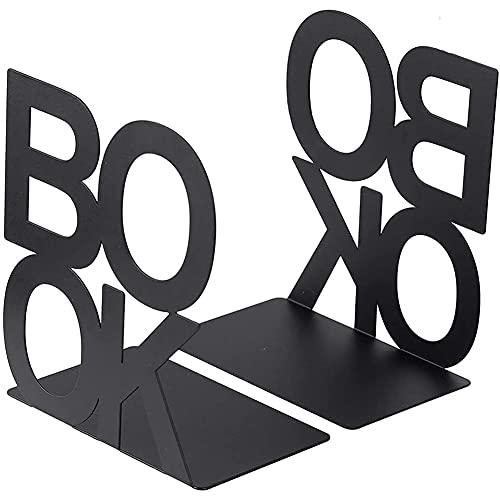 YAOLAN Sujetalibros de Metal Forma de Alfabeto, Antideslizante Apoyalibros de Metal para Oficina Escuela Biblioteca Hogar 1 Pares (Negro)