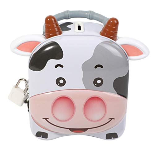 Garneck Hucha de Leche Linda Hucha Hojalata para Ahorrar Dinero Banco de Monedas Zodíaco Buey Animal Estatuilla para Ahorrar Dinero Caja Cambio Contenedor Tanque para La Oficina en Casa