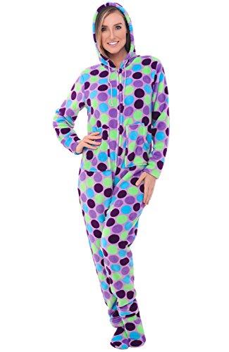 Alexander Del Rossa Women's Warm Fleece One Piece Footed Pajamas, Adult Onesie with Hood, XS Purple Polka Dots (A0322R46XS)