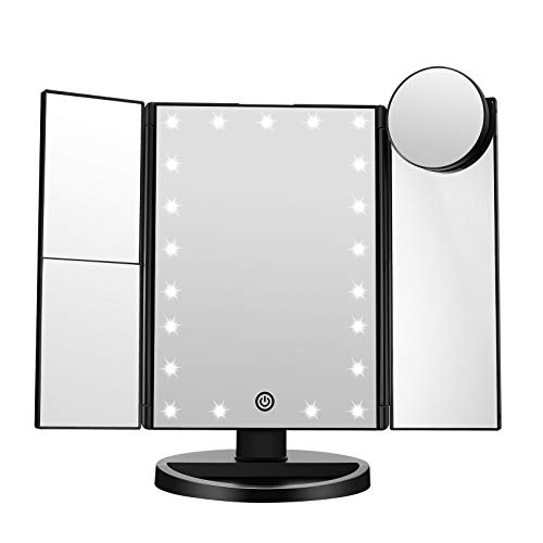 FASCINATE Trifold Led Lighted Makeup Mirror, 2X/3X/ Magnification Vanity Mirror with LED Lights, 360° Rotation Touch Screen Cosmetic Mirrors and Dual Power Supply (Black)