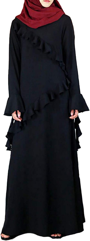 YI HENG MEI Women's Elegant Muslim Islamic Solid Black Bell Sleeve Long Maxi Abaya Dress