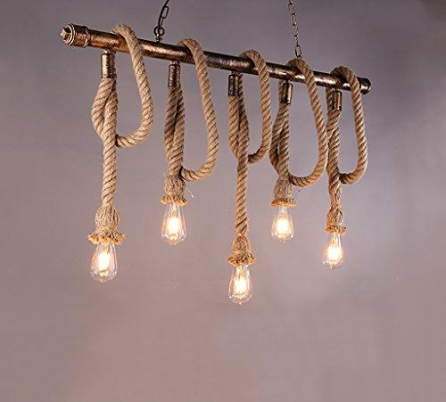 POPAHOME Lustre loft industrielle vent lustre en fer forgé restaurant café bar table basse réseau créatif de E27 corde de chanvre 5 lustres de lumière (Efficacité: A +)