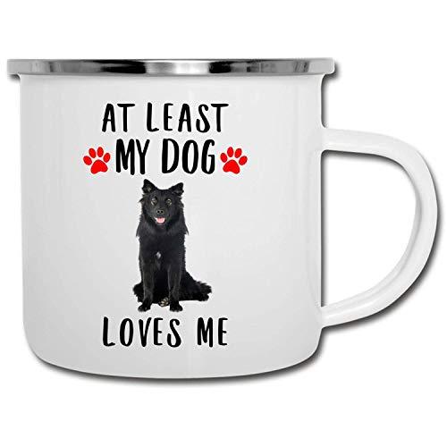 N\A Divertido Lapphund finlandés Azul, por lo Menos mi Perro me ama, Taza esmaltada para Caravana, 11 oz