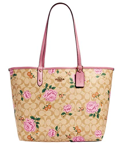 COACH Reversible Large City Tote Signature Canvas with Prairie Rose Print - light khaki pink pink multi