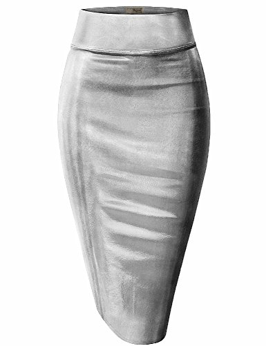 Hybrid & Company Womens Pencil Skirt for Office Wear KSK43584 3823 Silver XL