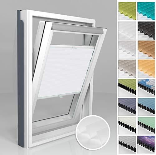 Home-Vision® Dachfenster Premium Plissee Faltrollo ohne Bohren Velux-kompatibel (Weiß für C06 - Weiß) Blickdicht Sonnenschutz, Alle Montage-Teile inklusive