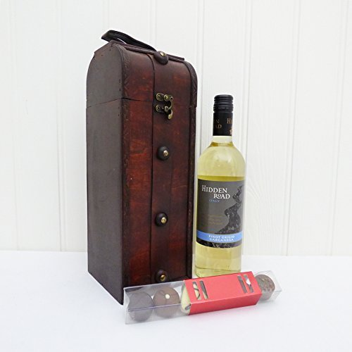 The Gothic Keepsake Wine Carrier with 75cl Hidden Road White Wine & Chocolate Surprise - Gift Ideas for Mum, Mothers Day, Christmas, Birthday, Anniversary, Dad, Fathers Day, him, her