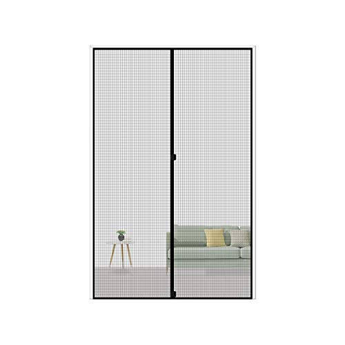 MAGZO Magnetic Screen Door 32 x 80, Reinforced Fiberglass Mesh Curtain Patio Door Mesh with Full Frame Hook&Loop Fits Door Size up to 32'x80' Max-Grey
