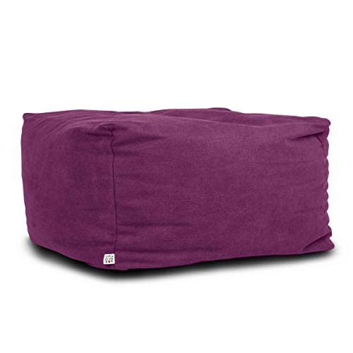 Arketicom Soft Cube Puff Saco reposapiés Cubo Asiento de Tela desenfundable, Doble Forro Interior, Relleno de Bolas de poliestireno Rosa Fucsia