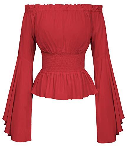 Mittelalter Shirt Damen Bluse Black Blouse schwarz top Oberteil S BP468-5