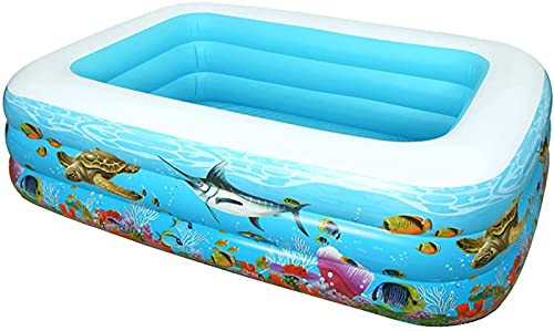 LIUXR Piscina Hinchable para Adultos y niños, Rectangular, Piscina Familiar Hinchable para niños, Piscina Infantil para Patio, jardín,Blue_305x175x66cm