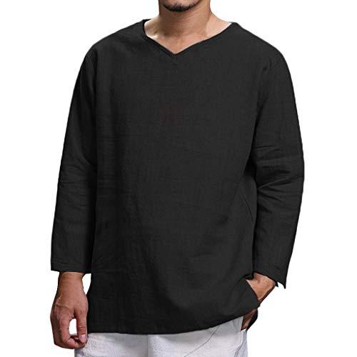 Winkey - Camiseta de manga larga para hombre, estilo vintage, algodón sólido y lino de cáñamo