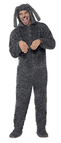 "Smiffys mens Fluffy Dog Costume, Grey, M - US Size 38""-40"""