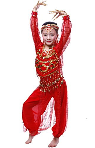 Astage Niña Disfraz Bailarina Danza del Vientre India Manga Larga Todos Accesorios Rojo L