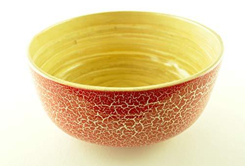 vnhomeware bol en bambou rond fait à la main fruits en bois doux bol de qualité décorative maison brillant laque craquelée technique de peinture rouge bois naturel couleurs H053M
