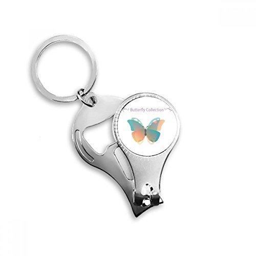 Baby roze&blauwe vlinder collectie metalen sleutelhanger ring multifunctionele nagel Clippers fles opener auto sleutelhanger beste charme gift