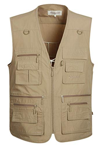 Gihuo Men's Summer Outdoor Work Safari Fishing Travel Vest With Pockets (X-Large, Khaki)