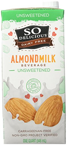 So Delicious Dairy Free Almondmilk Beverage, Unsweetened, 32 oz (Pack of 6)