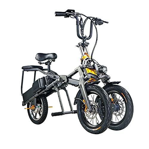 WZW 14 Pollici Mini Pieghevole Bicicletta Elettrica Creativo 350W A Tre Ruote Ebike 48V/7,2Ah Li-Ion Batteria Elettronico Bicicletta per Adulti Uomo da Donna (Taglia : 48v7.2ah)