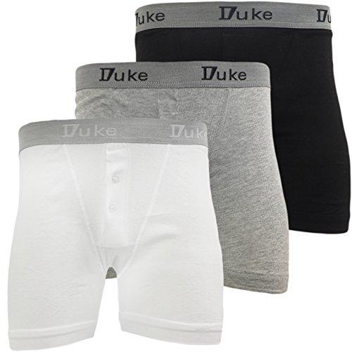 Duke London Braguette Boutonnée Sous-vêtement Hommes 3 Paquet Multiple Coton Caleçon Boxer - Blanc - Gris - Noir - Pack De 3, L 44-45