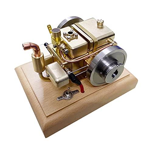 Xshion Modelo de motor de gasolina de 3,2 cc, mini horizontal, refrigerado por agua, motor de gasolina de 4 tiempos, con base de madera, juguete científico