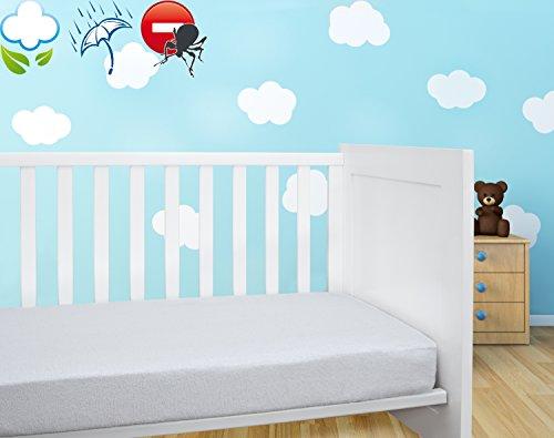 Savel, Coprimaterasso/Proteggi Materasso per Lettino Bambini Imbottito in Spugna 100% Cotone, Impermeabile e Traspirante con Trattamento antiacari - 60x120cm