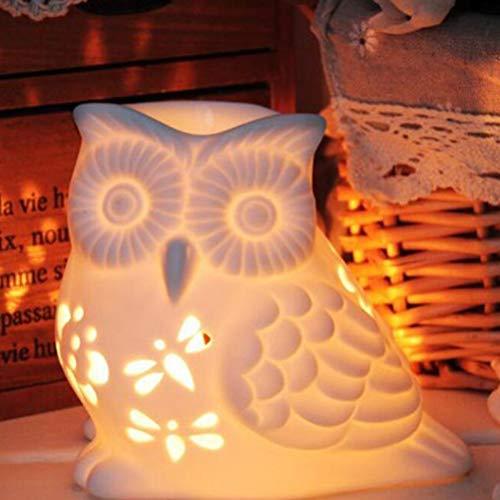Mobestech Scolpisca il supporto leggero di tè in ceramica Gufo Forno di aromaterapia Bruciatore di olio essenziale Luce notturna per soggiorno Camera da letto Patio