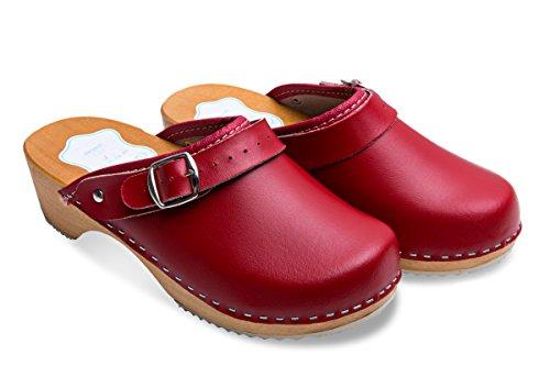 FUTURO FASHION® - Damen Clogs - gesund & natürlich - Echtleder - Holzsohle - Unisex-Farben - einfarbig - Größe 36-42 - Rot - 39 EU